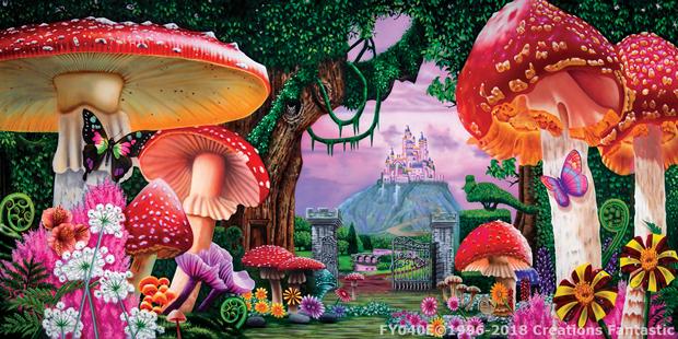 Wonderland 1E Alice in Wonderland Backdrop with Giant Mushrooms