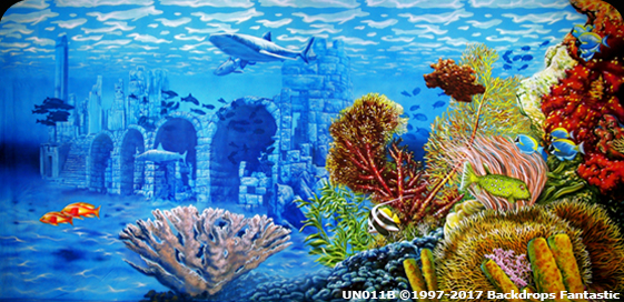 Under the Sea Backdrop - under sea ruins with shark event theming party drop backdrops