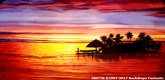 Tropical Sunset Cruise backdrops is a party drop that shows a view of a warm sunset against a tropical resort with the gentle ocean in the foreground