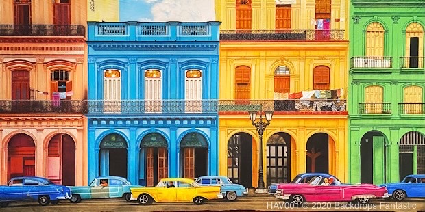 Havana Street Scene Backdrop with Classic Cars