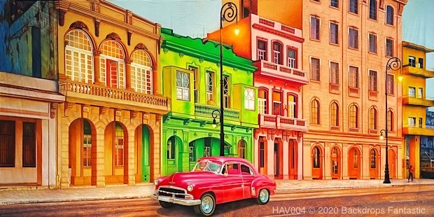 Havana 4 theme backdrops with Cuban Buildings and red classic car